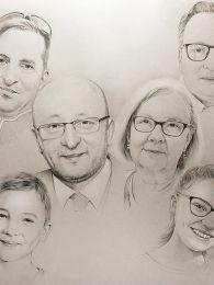 Tíz karakteres nagy családi portré tabló - ceruzarajz