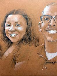 Családi portré 2018 nyarából - ceruza rajz színes papíron