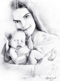 Lány karjában babával - ceruza rajz