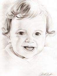 Kislány baba - portré rajz