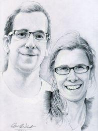 Tesvérpár portréja - ceruzarajz