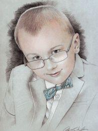 Elegáns kisfiú portré - ceruza rajz