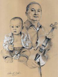 A brácsás és unokája - ceruza portrérajz