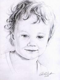 Mosolygó kisfiú portré - ceruza rajz