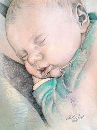 Szundikáló újszülött baba - színes ceruza rajz