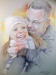 Ifjú házasok  - színes ceruza rajz