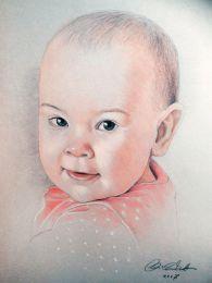 Kislány baba portré - színes ceruza razj