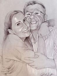 Endre és Szilvi - ceruza rajz