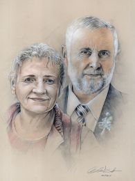 Házaspár duplaporté - ceruza portrérajz