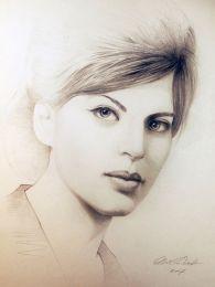 Vermes Éva 1964 - portré ceruza rajz