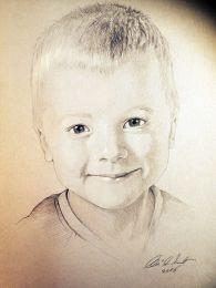 Mosolygós kisfiú portré - ceruza rajz