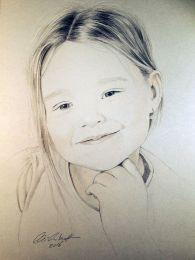 Mosolygós kislány portré - ceruza rajz