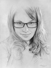 Női portré - ceruza rajz