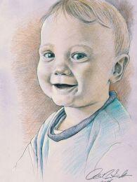 Nevető baba - színes ceruza rajz