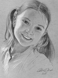 Boldog kislány - ceruza rajz
