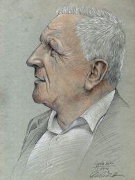 Idős bácsi profilból - színes ceruza rajz