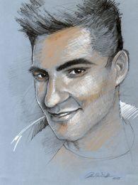 Oláh Gergő portré - színes ceruza rajz