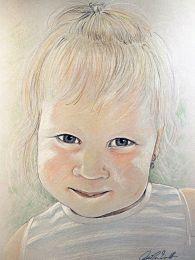 Aranyos kislány - színes ceruza rajz