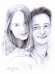 Fiatal jegyespár portréja - ceruzarajz