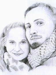 Jegyes pár portréja - ceruza rajz