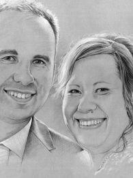 Ifjú pár esküvői képe alapján - ceruza rajz