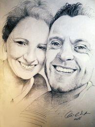 Boldog pár szelfije - ceruza rajz