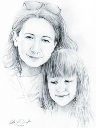Anya és kislánya - ceruzarajz