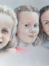 Anya és lányai - színesceruza  - portrérajz