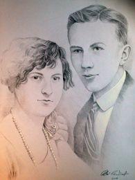 Ifjú pár: 20-as évekbeli eljegyzési fotó alapján - ceruza rajz