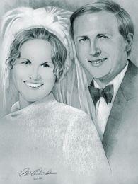 Ifjú pár: 60-as évekbeli esküvői fotó alapján - ceruza rajz