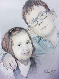 Testvérpár portré - színes ceruza rajz